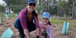 Emma Reynolds plants a tree in honour of her mum, Bernadette Mackinnon